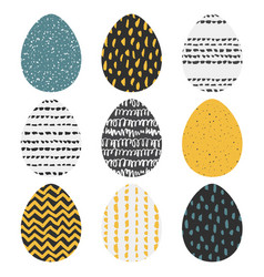 Set of 9 handdrawn textured eggs vector