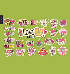 set of contemporary girlie love you letter logo vector image