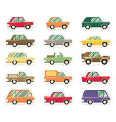 Set of vintage cars flat style vector