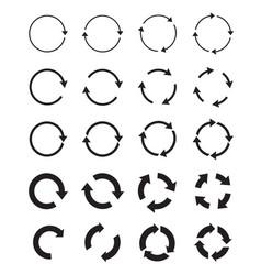 Sets black circle arrows icons vector