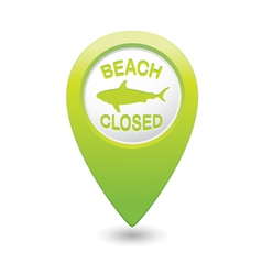 Shark sighting sign on green map pointer vector