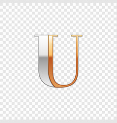 silver and gold font symbol alphabet letter u vector image