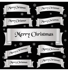 silver shiny color merry christmas slogan curved vector image