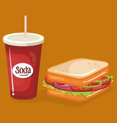 soda with sandwich fast food menu vector image