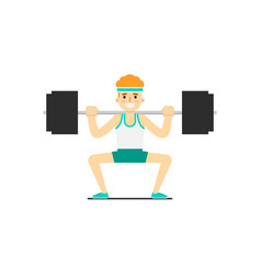 Sporty boy in sportswear cowering with barbell vector