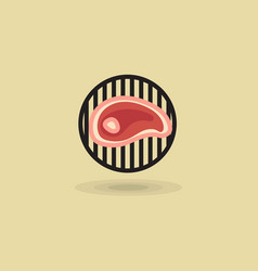 Steak beef on grill barbecue icon vector