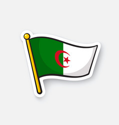 Sticker flag algeria vector