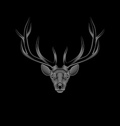 stylized deer on black background portrait a vector image