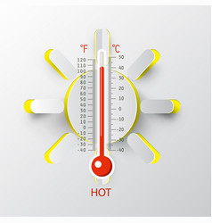 thermometer with paper cut sun hot weather symbol vector image