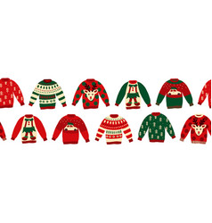 ugly christmas sweaters seamless border vector image