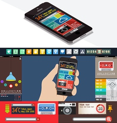 UI flat design web elements vector image