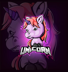 Unicorn mascot esport logo design vector