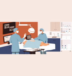 Veterinarians performing surgery in vet clinic vector