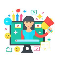 Video blogger cartoon flat concept computer vector