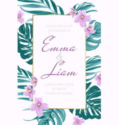 Wedding invitation tropical greenery viola flowers vector