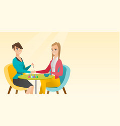 Woman receiving manicure in nail salon vector