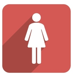 Woman WC Flat Rounded Square Icon with Long Shadow vector