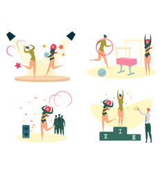 women sport fitness and workout activity set vector image