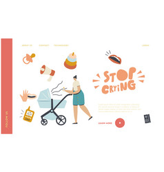 young mother suffer bascream landing page vector image