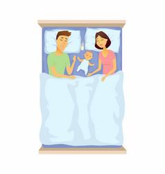 Young parents and basleeping - cartoon people vector