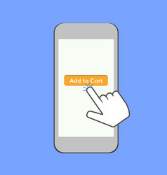mobile phone with finger and ad to cart button vector image