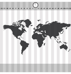 time zones world map with clock and stripes eps10 vector image vector image