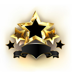 five stars with black ribbon vector image vector image