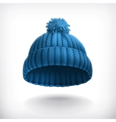 Knitted blue cap vector image