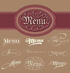 menu headlines vector image vector image