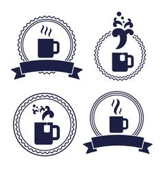 office tea cup label set vector image vector image