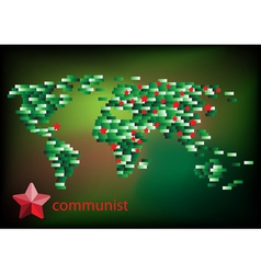 Red star communist on the map vector image