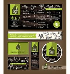 Vegetarian and vegan healthy restaurant cafe menu vector image