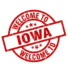 welcome to iowa red stamp vector image vector image