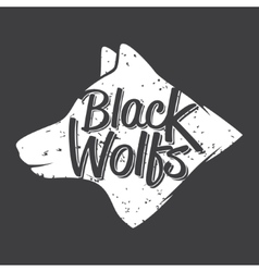 white wolf hand drawn typography poster vector image vector image
