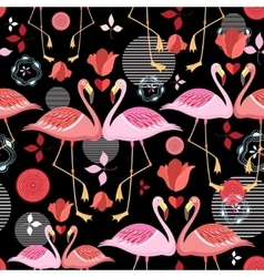 Beautiful pattern lovers flamingos vector