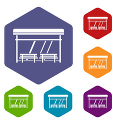 bus stop icons set vector image
