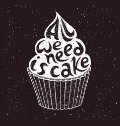 hand drawn cupcake with text vector image