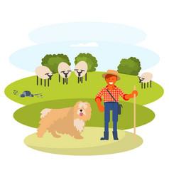 man cattleman with shepherd dog vector image