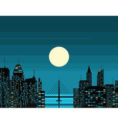Night futuristic city with big moon vector image