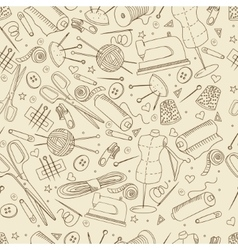 Sewing accessories seamless retro vector image vector image