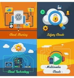 Cloud service 2x2 design concept vector