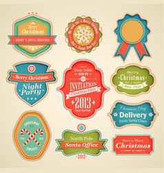 cute christmas labels vector image vector image