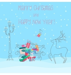 Deer near bench full of presents gifts happy new vector