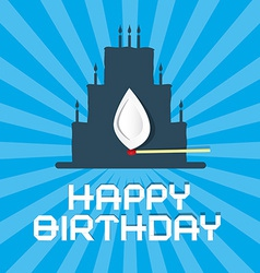 Happy Birthday Blue Background with Cake vector image vector image