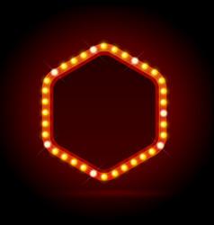light bulbs vintage neon glow billboard frame vector image vector image