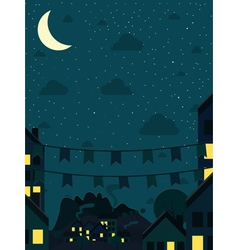 Night small town with moon vector image