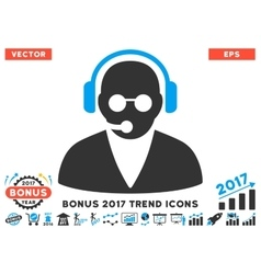 Support Operator Flat Icon With 2017 Bonus Trend vector image vector image