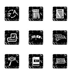 Translation icons set grunge style vector image