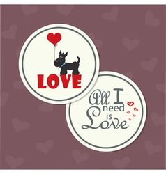 valentine dog with heart vector image vector image
