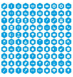 100 favorite food icons set blue vector image